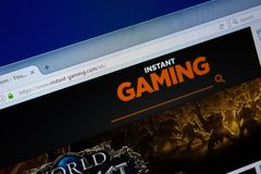 Ryazan, Ρωσία - 9 Σεπτεμβρίου 2018: Αρχική σελίδα του ιστοχώρου στιγμιαίος-τυχερού παιχνιδιού στην επίδειξη του PC, url - στιγμια στοκ φωτογραφίες