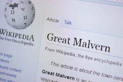 Ryazan, Ρωσία - 9 Σεπτεμβρίου 2018 - σελίδα Wikipedia για μεγάλο Malvern σε μια επίδειξη του PC στοκ φωτογραφία με δικαίωμα ελεύθερης χρήσης