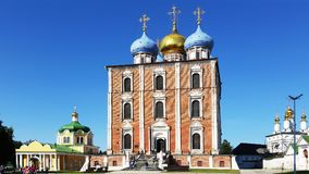 The Ryazan Kremlin, the Cathedral of Christ, the assumption Cathedral and the Church of the Epiphany . Ryazan, a town on a summer royalty free stock photo