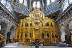 The Ryazan Kremlin. Nativity of Christ Cathedral, interior, iconostasis Stock Images