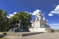 . Ryazan. A monument to famous Russian poet Sergey Yesenin and the Church of our Saviour on Yar Savior on the Yar Stock Photography