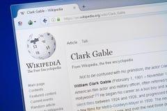 Ryazan, Rússia - 19 de agosto de 2018: Página de Wikipedia sobre Clark Gable na exposição do PC imagem de stock royalty free