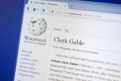 Ryazan, Rússia - 19 de agosto de 2018: Página de Wikipedia sobre Clark Gable na exposição do PC fotografia de stock