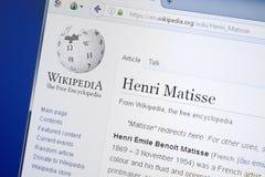 Ryazan, Rússia - 19 de agosto de 2018: Página de Wikipedia sobre Henri Matisse na exposição do PC foto de stock