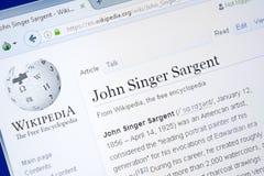 Ryazan, Rússia - 28 de agosto de 2018: Página de Wikipedia sobre John Singer Sargent na exposição do PC foto de stock
