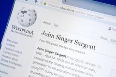 Ryazan, Rússia - 28 de agosto de 2018: Página de Wikipedia sobre John Singer Sargent na exposição do PC imagem de stock royalty free