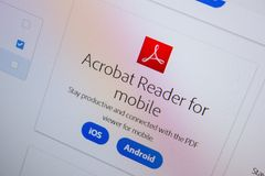 Ryazan, Rússia - 11 de julho de 2018: Adobe Acrobat Reader para o móbil, logotipo do software no Web site oficial de Adobe fotografia de stock royalty free