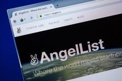Ryazan, Rússia - 24 de julho de 2018: Homepage do Web site do anjo na exposição do PC URL - anjo Co imagens de stock