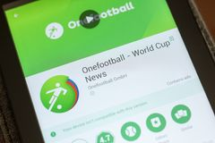 Ryazan, Rússia - 3 de julho de 2018: Onefootball Live Soccer Scores app móvel na exposição do PC da tabuleta foto de stock royalty free