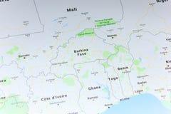 Ryazan, Rússia - 8 de julho de 2018: País de Burkina Faso no serviço de Google Maps foto de stock royalty free