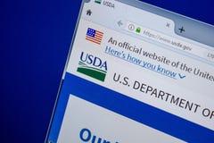Ryazan, Rússia - 11 de julho de 2018: USDA Web site do gov na exposição do PC foto de stock