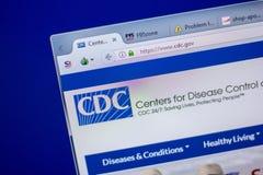 Ryazan, Rússia - 5 de junho de 2018: Homepage do vwebsite do CDC na exposição do PC, URL - CDC gov fotos de stock royalty free