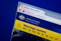 Ryazan, Rússia - 26 de junho de 2018: Homepage do Web site de Bom na exposição do PC URL - Bom gov Au imagem de stock
