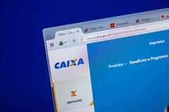 Ryazan, Rússia - 5 de junho de 2018: Homepage do Web site de Caixa na exposição do PC, URL - Caixa gov BR imagem de stock royalty free