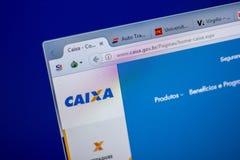 Ryazan, Rússia - 5 de junho de 2018: Homepage do Web site de Caixa na exposição do PC, URL - Caixa gov BR fotografia de stock royalty free