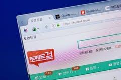 Ryazan, Rússia - 17 de junho de 2018: Homepage do Web site da torrente na exposição do PC, URL - torrente mom foto de stock