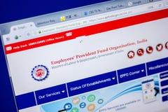 Ryazan, Rússia - 5 de junho de 2018: Homepage do Web site de Epfindia na exposição do PC, URL - Epfindia gov Em imagem de stock