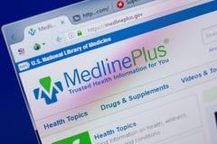 Ryazan, Rússia - 17 de junho de 2018: Homepage do Web site de MedlinePlus na exposição do PC, URL - MedlinePlus gov fotografia de stock royalty free