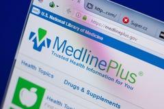 Ryazan, Rússia - 17 de junho de 2018: Homepage do Web site de MedlinePlus na exposição do PC, URL - MedlinePlus gov fotos de stock royalty free