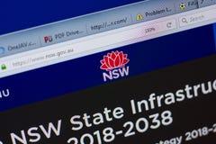 Ryazan, Rússia - 17 de junho de 2018: Homepage do Web site de NSW na exposição do PC, URL - NSW gov Au foto de stock royalty free