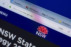 Ryazan, Rússia - 17 de junho de 2018: Homepage do Web site de NSW na exposição do PC, URL - NSW gov Au imagem de stock royalty free