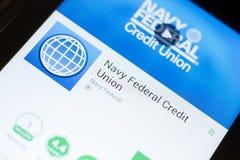 Ryazan, Rússia - 24 de junho de 2018: Marinha Credit Union federal app móvel na exposição do PC da tabuleta Imagens de Stock Royalty Free