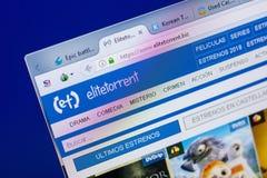 Ryazan, Rússia - 20 de maio de 2018: Homepage do Web site de EliteTorrent na exposição do PC, URL - EliteTorrent biz imagem de stock royalty free