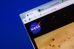 Ryazan, Rússia - 13 de maio de 2018: Web site da NASA na exposição do PC, URL - NASA gov foto de stock royalty free