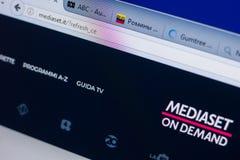 Ryazan, Rússia - 13 de maio de 2018: Web site de Mediaset na exposição do PC, URL - Mediaset Ele Fotos de Stock