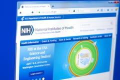 Ryazan, Rússia - 28 de março de 2018 - homepage do instituto de saúde nacional em uma exposição do PC, endereço da Web - nih gov foto de stock royalty free
