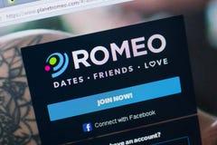 Ryazan Rosja, Czerwiec, - 16, 2018: Homepage PlanetRomeo strona internetowa na pokazie pecet, url - PlanetRomeo com Zdjęcie Stock