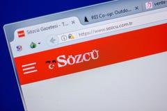 Ryazan Rosja, Czerwiec, - 05, 2018: Homepage Sozcu strona internetowa na pokazie pecet, url - Sozcu com Tr Zdjęcia Royalty Free