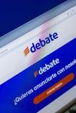 Ryazan Rosja, Kwiecień, - 29, 2018: Homepage debaty strona internetowa na pokazie pecet, url - debata com MX zdjęcie stock
