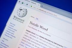 Ryazan Rosja, Lipiec, - 09, 2018: Strona na Wikipedia o Natalie Wood na pokazie pecet obraz royalty free