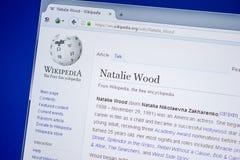 Ryazan Rosja, Lipiec, - 09, 2018: Strona na Wikipedia o Natalie Wood na pokazie pecet zdjęcia stock