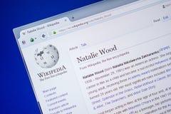 Ryazan Rosja, Lipiec, - 09, 2018: Strona na Wikipedia o Natalie Wood na pokazie pecet obrazy royalty free