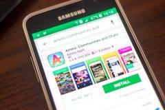 Ryazan Rosja, Maj, - 04, 2018: Amino ikona w liście mobilni apps na pokazie telefon komórkowy Fotografia Royalty Free