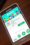 Ryazan Rosja, Maj, - 04, 2018: Amino wisząca ozdoba app na pokazie telefon komórkowy Obraz Stock