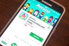 Ryazan Rosja, Maj, - 04, 2018: Amino wisząca ozdoba app na pokazie telefon komórkowy Zdjęcie Royalty Free