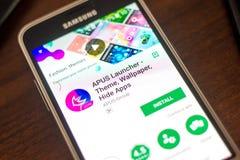 Ryazan Rosja, Maj, - 04, 2018: APUS wyrzutni wisząca ozdoba app na pokazie telefon komórkowy Obraz Royalty Free