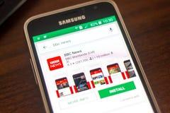 Ryazan Rosja, Maj, - 04, 2018: BBC wiadomości ikona w liście mobilni apps na pokazie telefon komórkowy Zdjęcia Stock