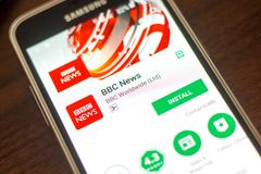 Ryazan Rosja, Maj, - 04, 2018: BBC wiadomości wisząca ozdoba app na pokazie telefon komórkowy Zdjęcia Stock