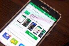 Ryazan Rosja, Maj, - 04, 2018: Chomp SMS ikonę w liście mobilni apps na pokazie telefon komórkowy Obrazy Stock