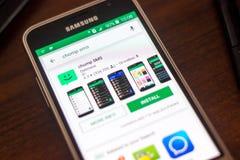 Ryazan Rosja, Maj, - 04, 2018: Chomp SMS ikonę w liście mobilni apps na pokazie telefon komórkowy Obraz Stock