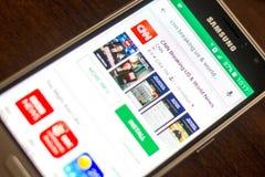 Ryazan Rosja, Maj, - 04, 2018: CNN łamania ikona w liście mobilni apps na pokazie telefon komórkowy Zdjęcia Stock