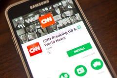 Ryazan Rosja, Maj, - 04, 2018: CNN łamania wisząca ozdoba app na pokazie telefon komórkowy Zdjęcie Stock