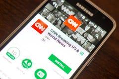 Ryazan Rosja, Maj, - 04, 2018: CNN łamania wisząca ozdoba app na pokazie telefon komórkowy Obraz Stock