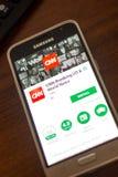 Ryazan Rosja, Maj, - 04, 2018: CNN łamania wisząca ozdoba app na pokazie telefon komórkowy Fotografia Stock