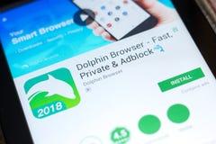 Ryazan Rosja, Maj, - 02, 2018: Delfin wyszukiwarki wisząca ozdoba app na pokazie pastylka pecet Zdjęcie Stock