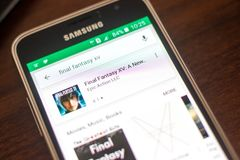 Ryazan Rosja, Maj, - 04, 2018: Final Fantasy XV ikona w liście mobilni apps na pokazie telefon komórkowy Zdjęcia Stock